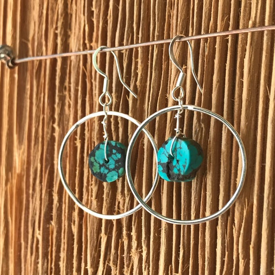 Image of Silver And Turquoise Hoops