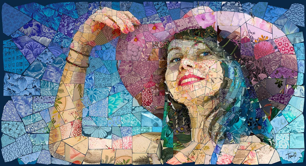 "Image of APHRODITES ""Like my hat?"" (Limited edition digital mosaic on canvas)"