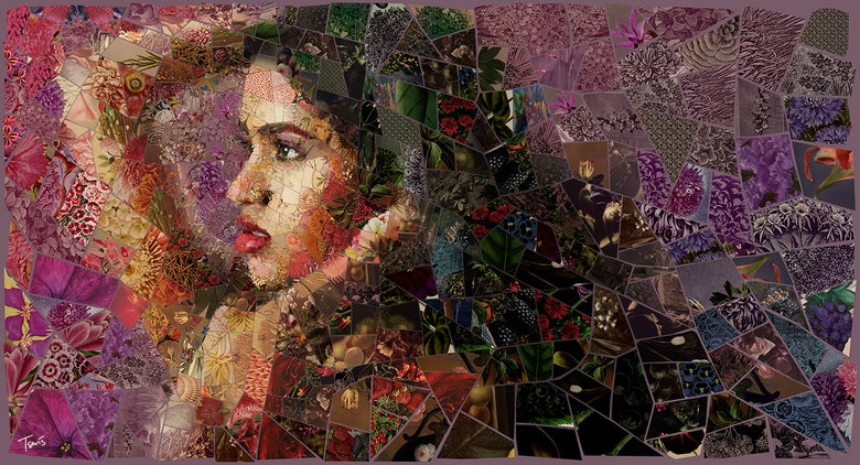 "Image of APHRODITES ""Marathevtiko"" (Limited edition digital mosaic on canvas)"