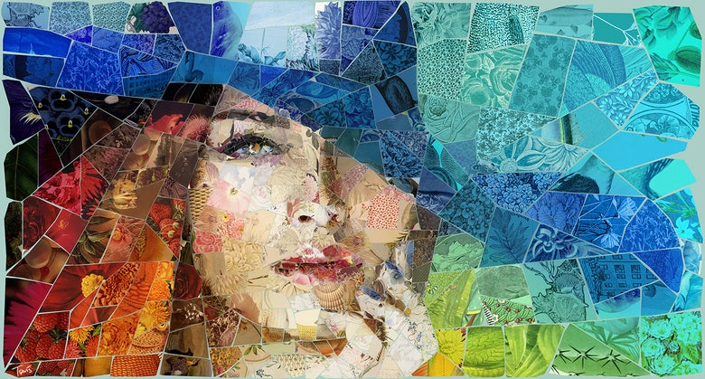 "Image of APHRODITES ""Thinking of you"" (Limited edition digital mosaic on canvas)"