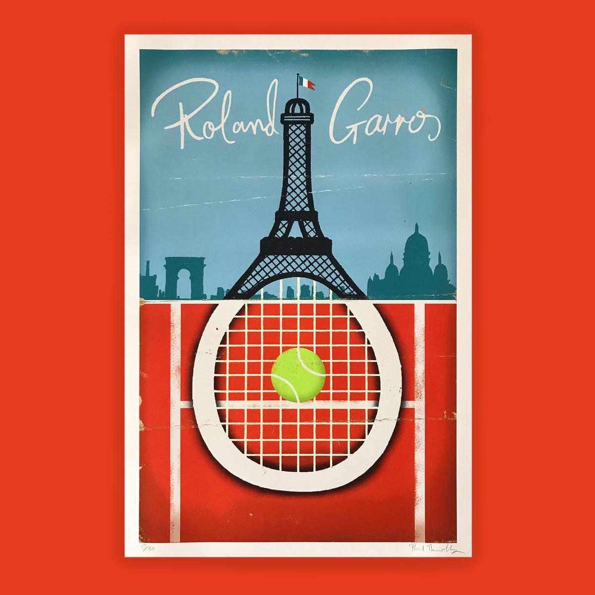 Roland Garros Tennis Poster Paul Thurlby