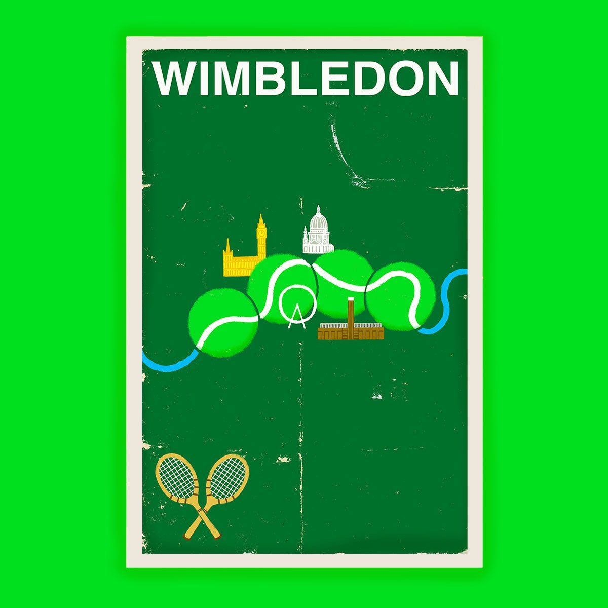 Wimbledon Tennis Poster Version B Paul Thurlby