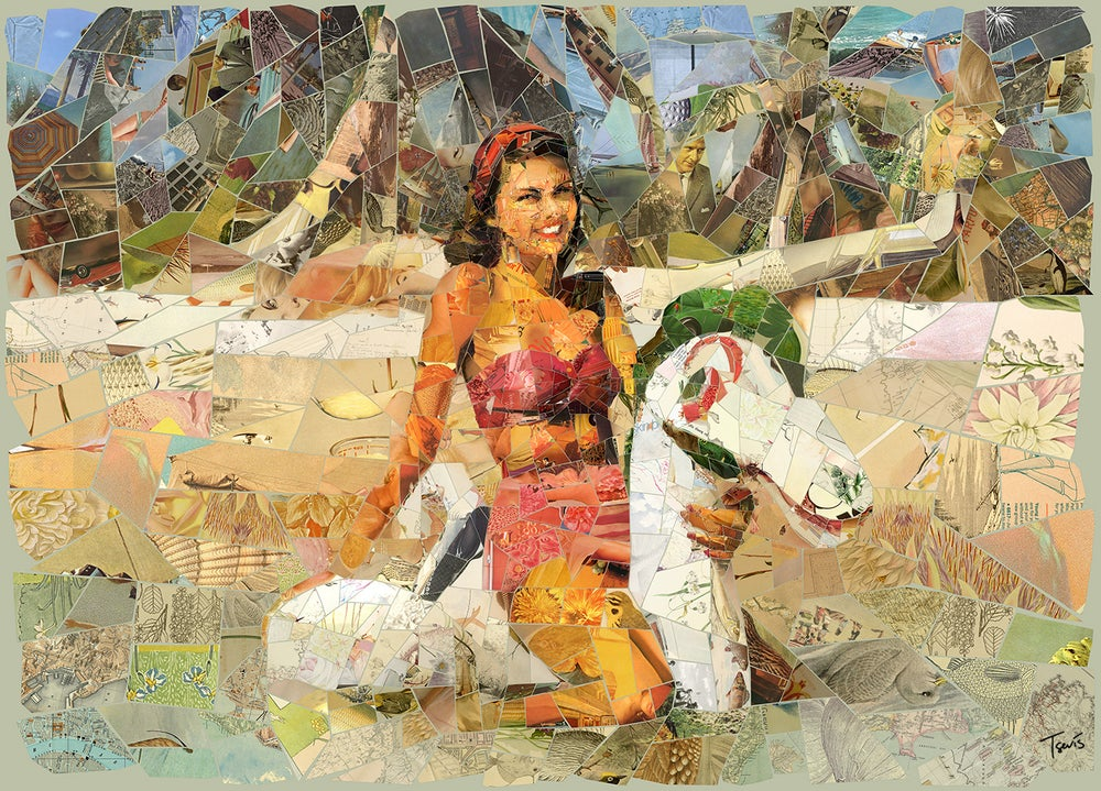 "Image of ENDLESS SUMMER ""Beach cowgirl"" (Limited edition digital mosaic on canvas)"