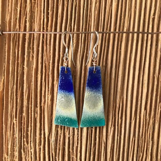 Image of Bottle Blue- Torch Enameled Earrings