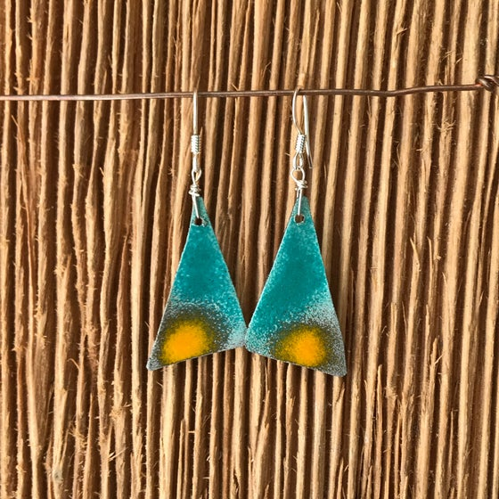 Image of Turquoise/ Mustard Sail-  Torch Enameled Earrings