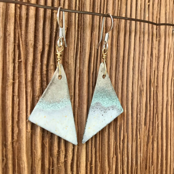 Image of Waves on Sail- Torch Enameled Earrings.