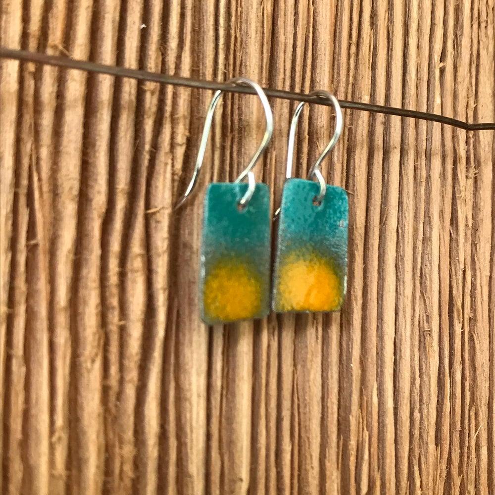Image of Turquoise Sunset- Torch Enameled Earrings
