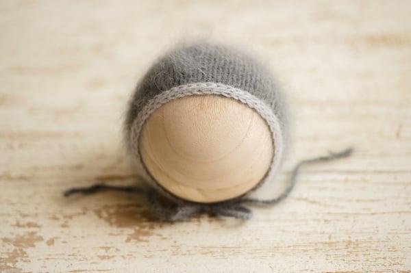 Image of Charcoal + Silver Bonnet {Angora}