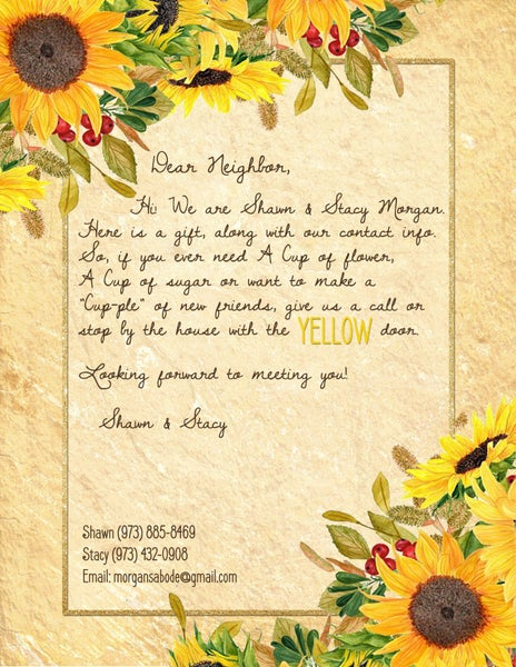 Image of Sunflower themed stationery & letter
