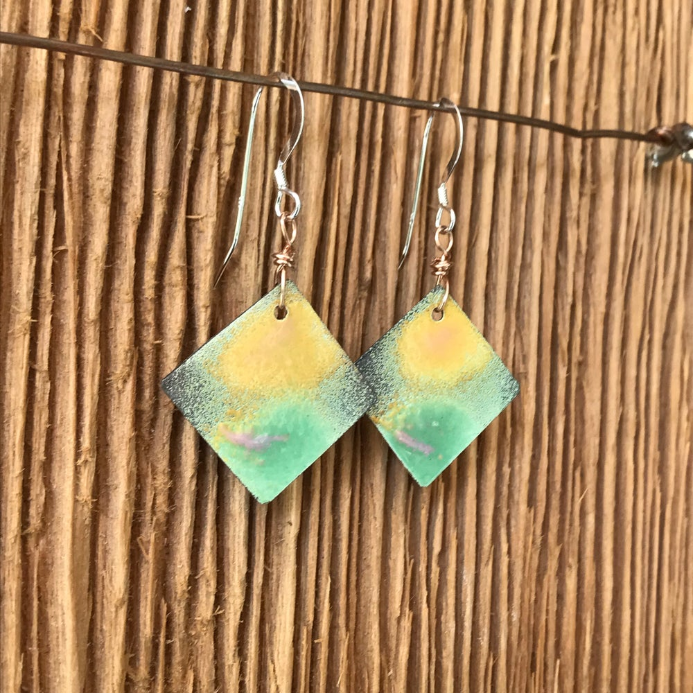 Image of Beach Path- Torch Enameled Earrings