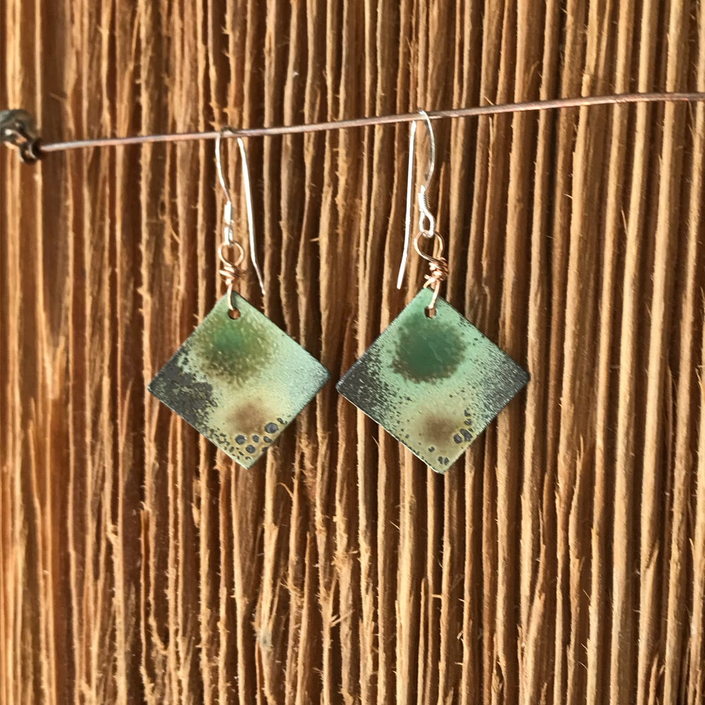 Image of Forest Moss- Torch Enameled Earrings