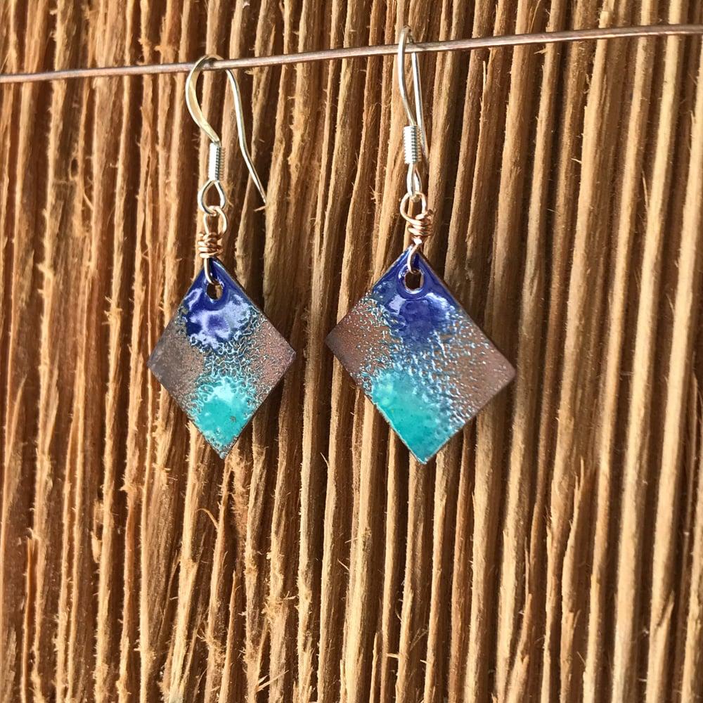 Image of Purple Rain- Torch Enameled Earrings