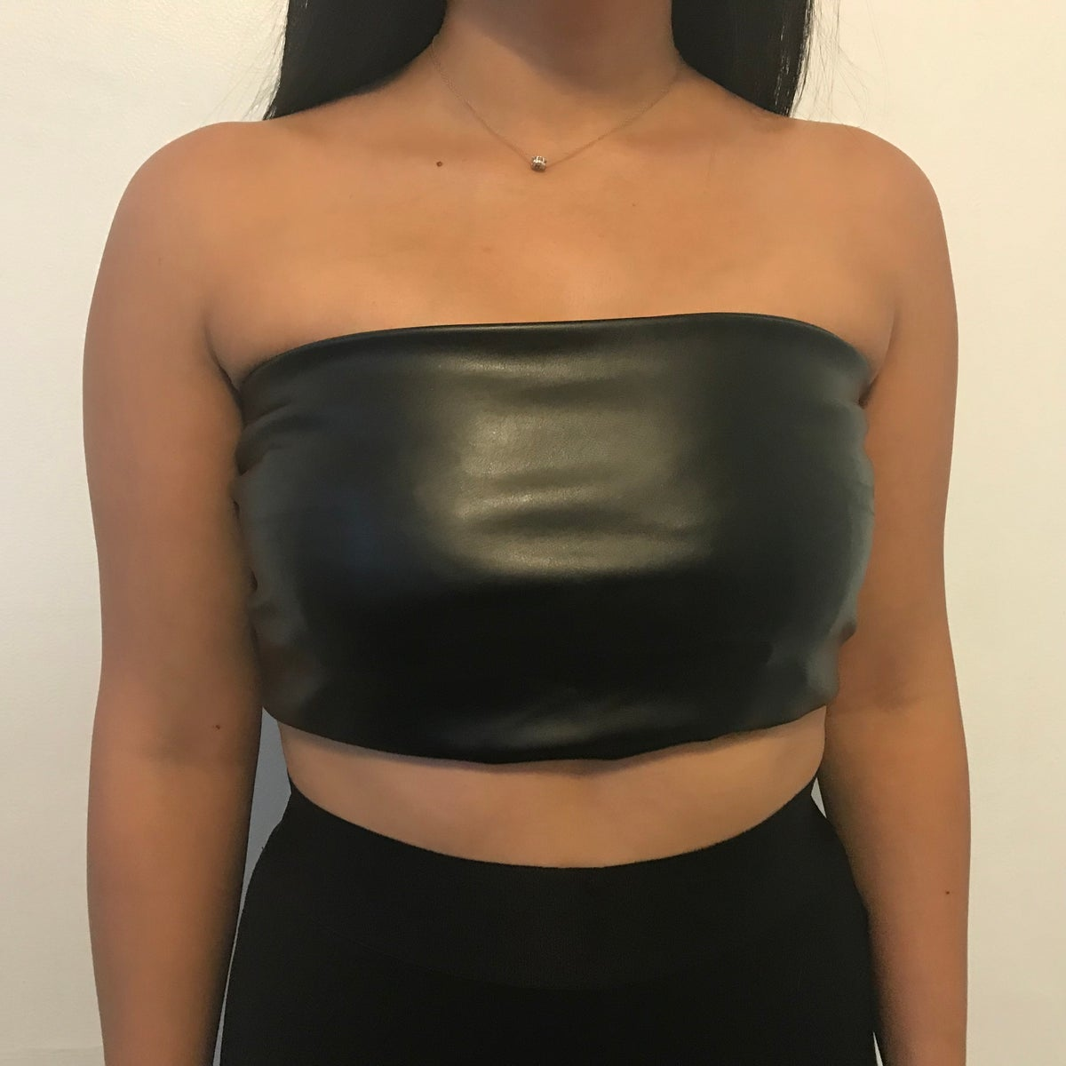 Image of Faux leather bandeau top, festival fashion