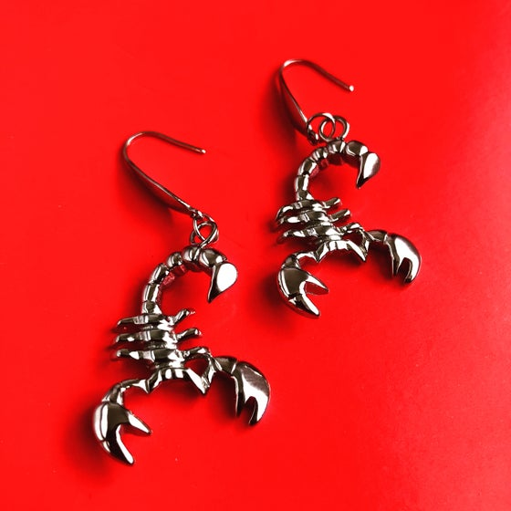 Image of SOLID SILVER SCORPION EARRINGS