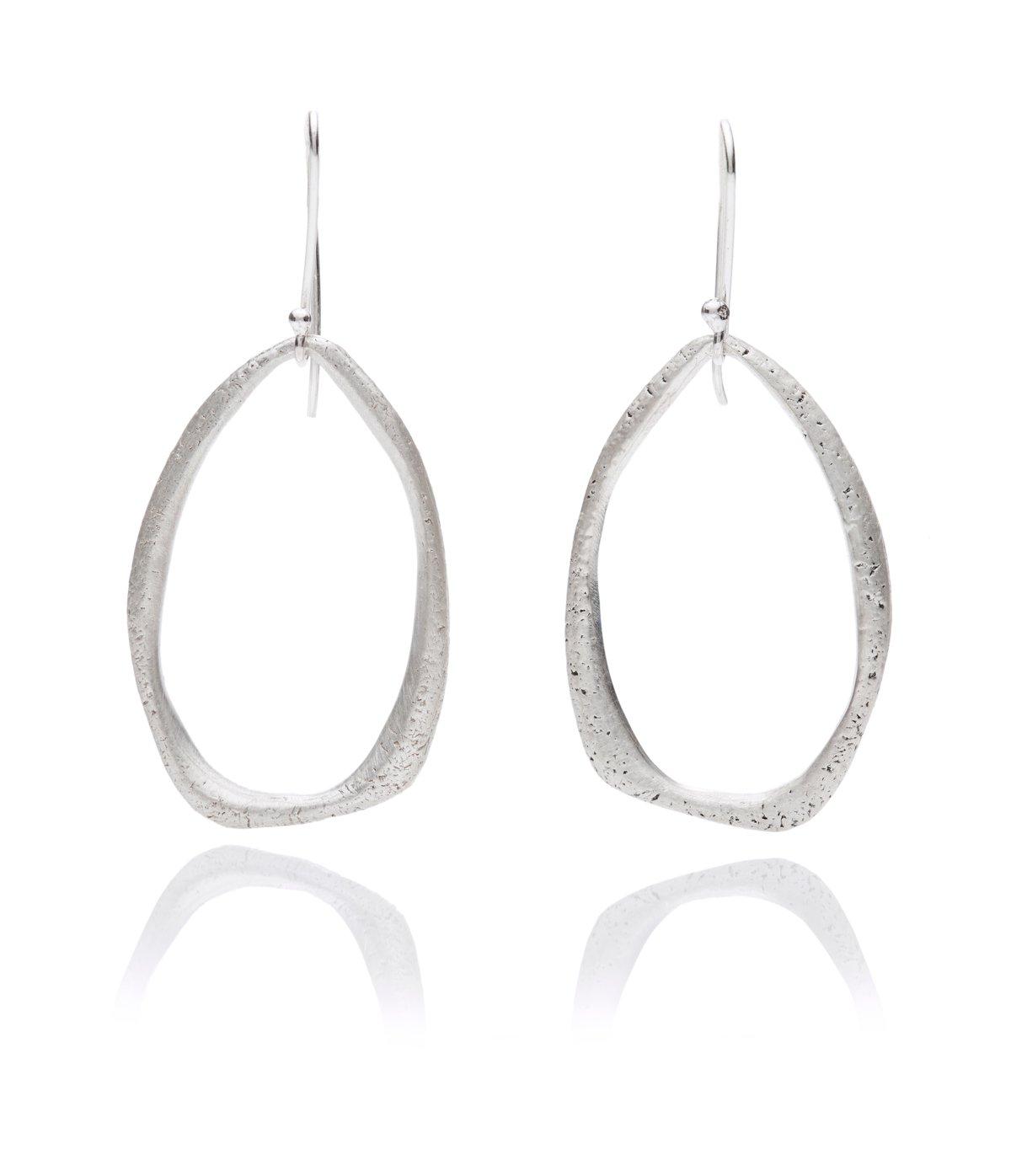 Texture teardrop hanging earrings in silver or 18k gold
