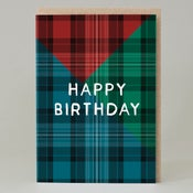 Image of Tartan happy birthday Blue (Card)
