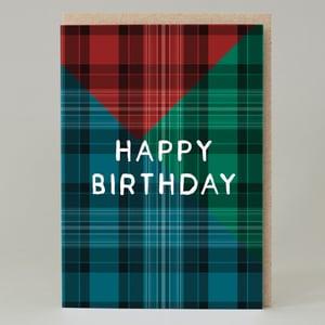 Image of Tartan happy birthday Blue (Card)