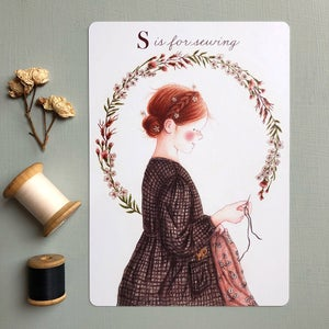 "Image of ""S is for sewing"" large card"