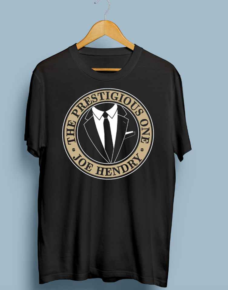 Image of The Prestigious One Suit and Tie Black TShirt - White and Metallic Gold (UK + International Shipping