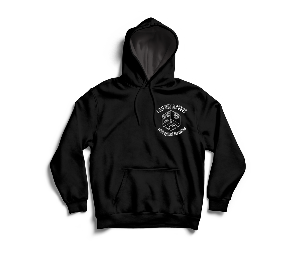 Image of I Am Not A Robot Black & White Hoodie