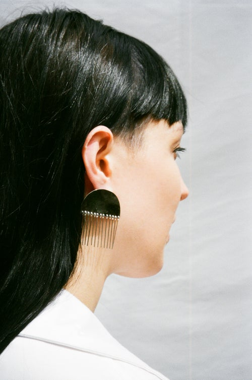 Image of Half Moon Tassel Earrings