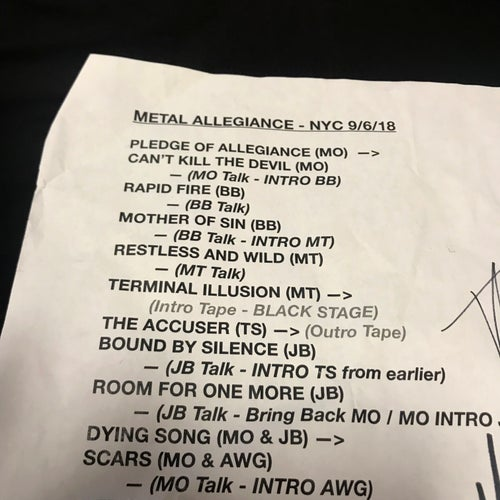 Image of Sept 6 2018 Record Releae Show Signed Set List