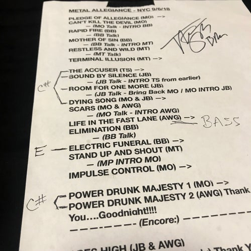 Image of Sept 6 2018 Record Releae Show Signed Set List - Menghi