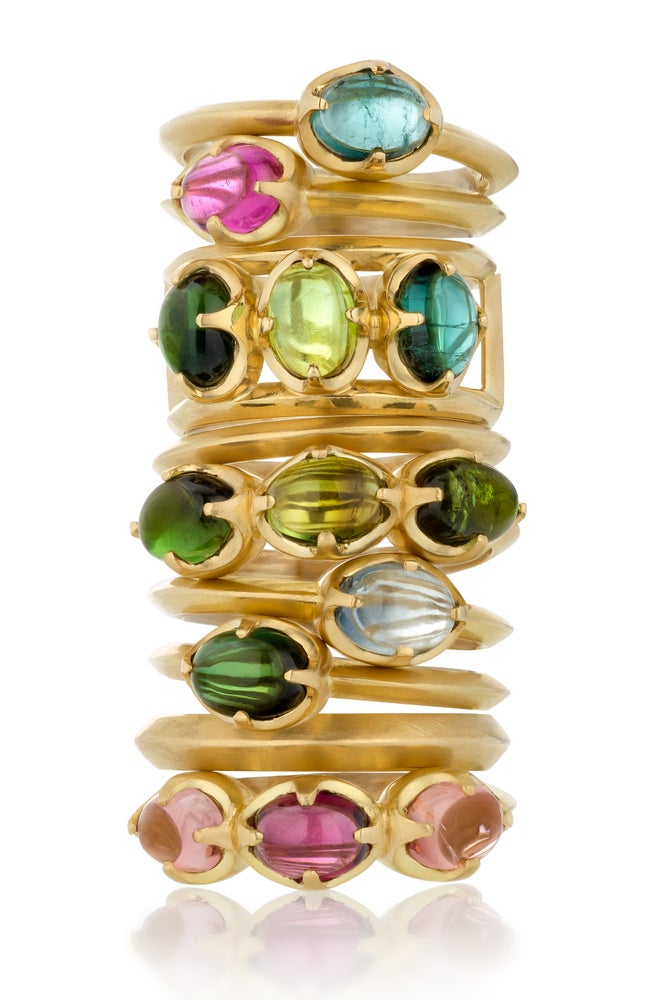 Image of Tourmaline Triple Claw Setting Ring 18k Green