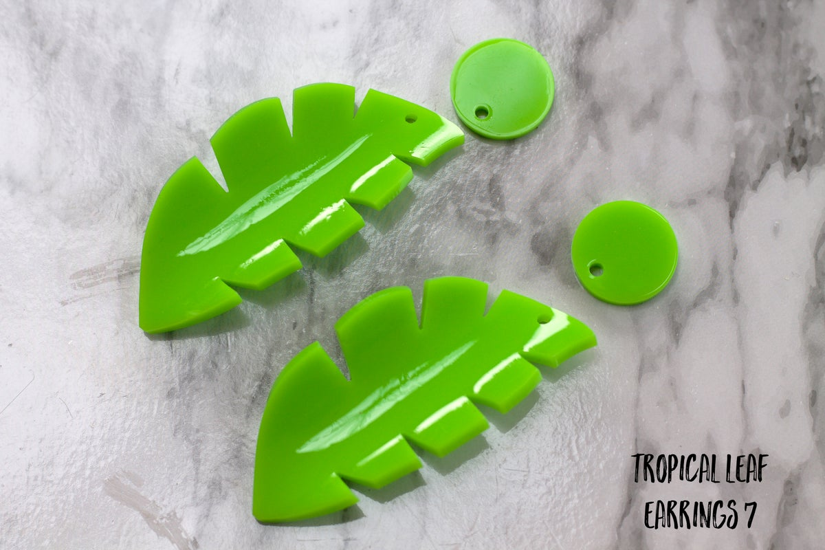 Image of Sample Sale Heat Moulded Tropical Earrings Lime & Green (other options available)