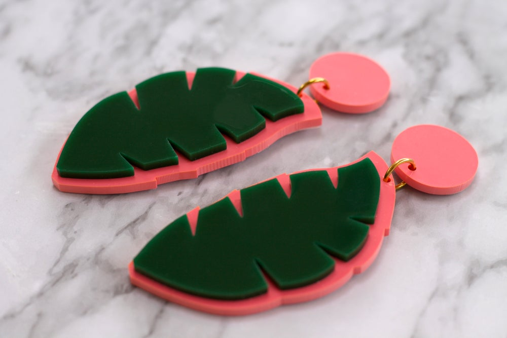 Image of Coral and Dark Green Palm Leaf Earrings