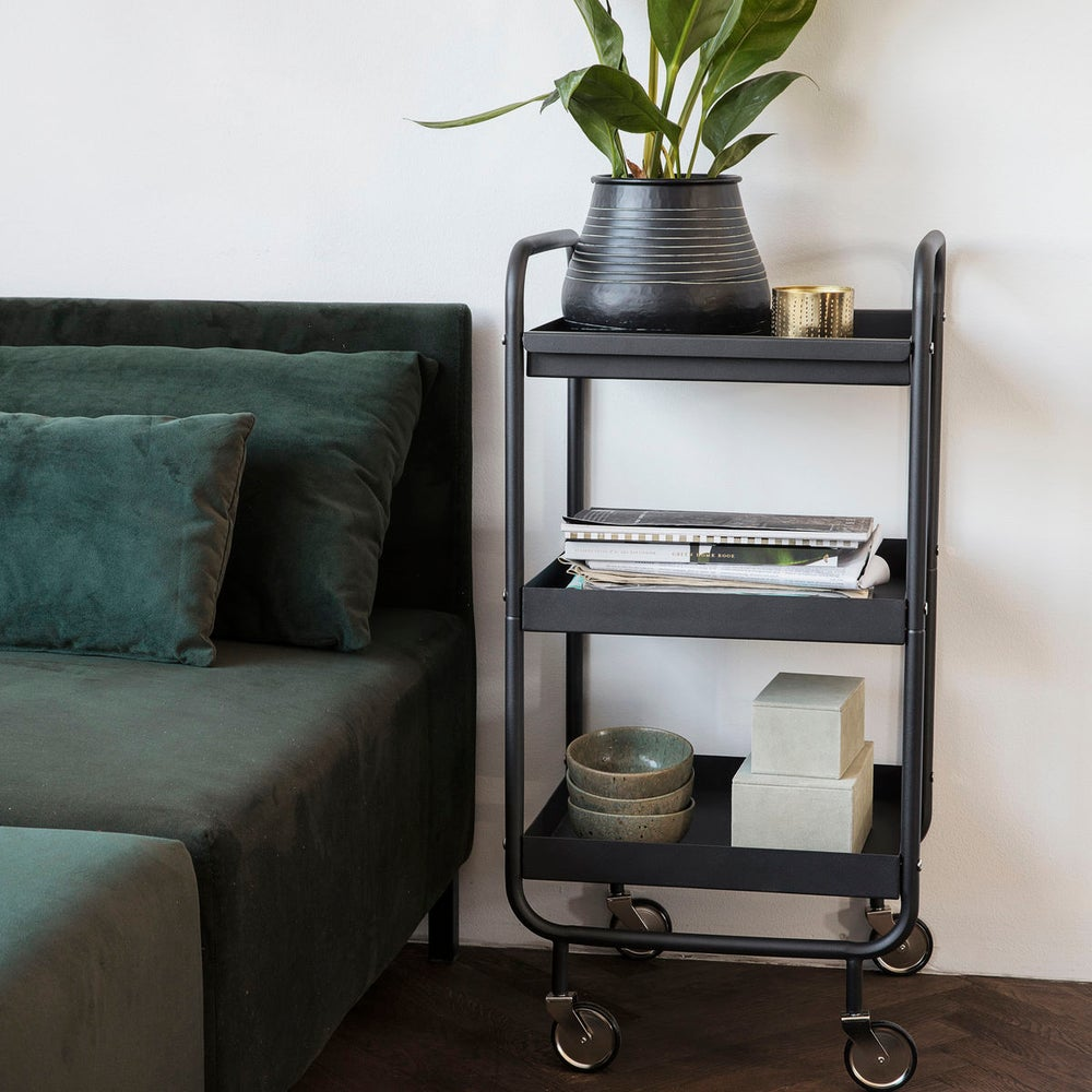 Image of MATT BLACK TROLLEY TABLE