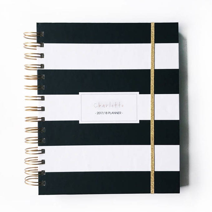 Image of 2018/19 2019 personalized planner black stripes