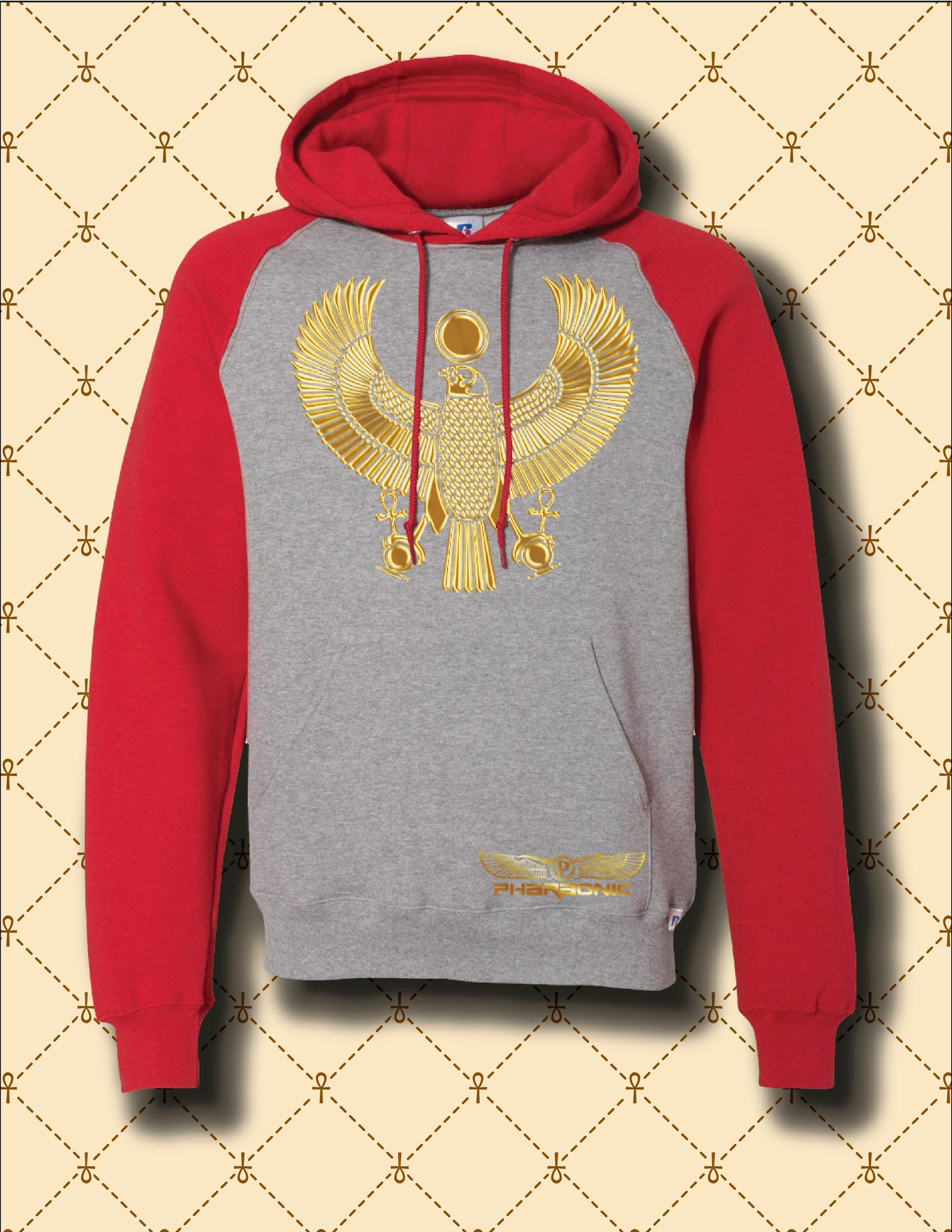 Image of GOLD HRU DRI POWER® COLOR BLOCK RAGLAN HOODIE