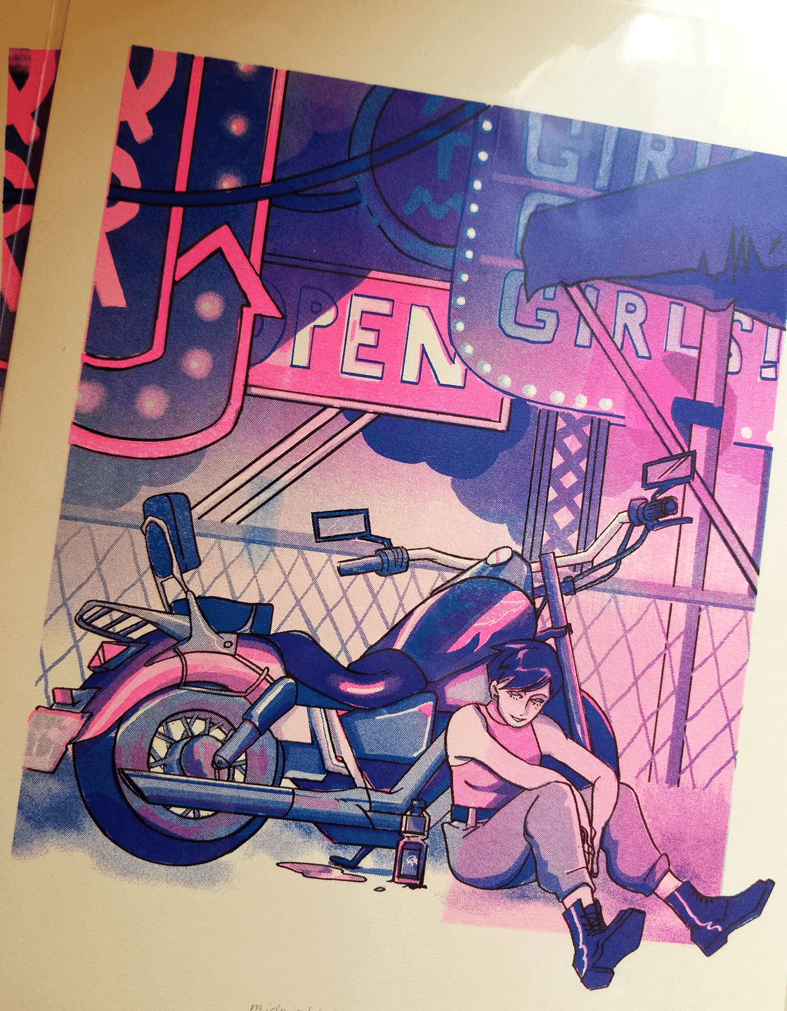 "Image of ""Midnight Rider"" 9.5x12 riso print"