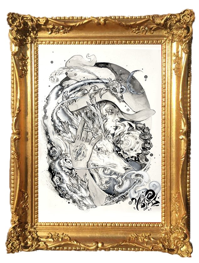 """Image of """"Crystal Dragon Witch"""" Original Painting"""