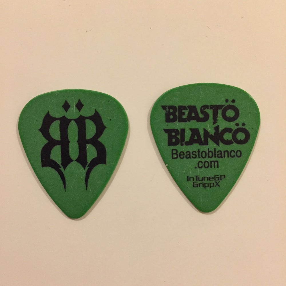 "Image of OFFICIAL - BEASTO BLANCO - 2014 ""BB"" GREEN GUITAR PICK"