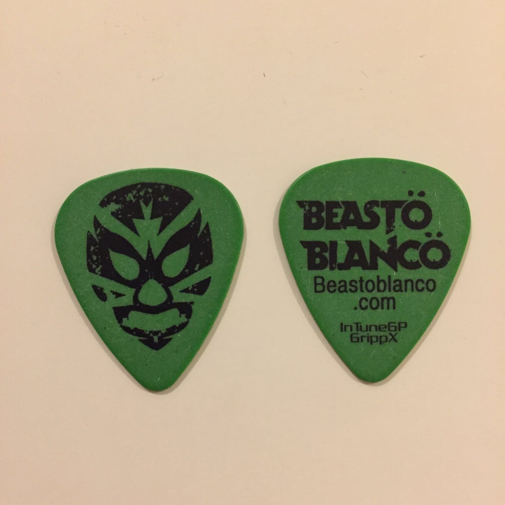 "Image of OFFICIAL - BEASTO BLANCO - 2014 ""BLANCO"" GREEN GUITAR PICK"