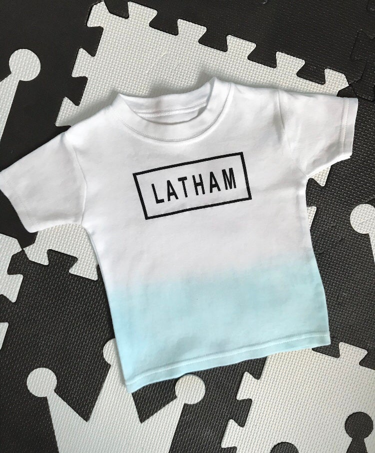 Image of Baby Blue Personalised Dip Dye Tee
