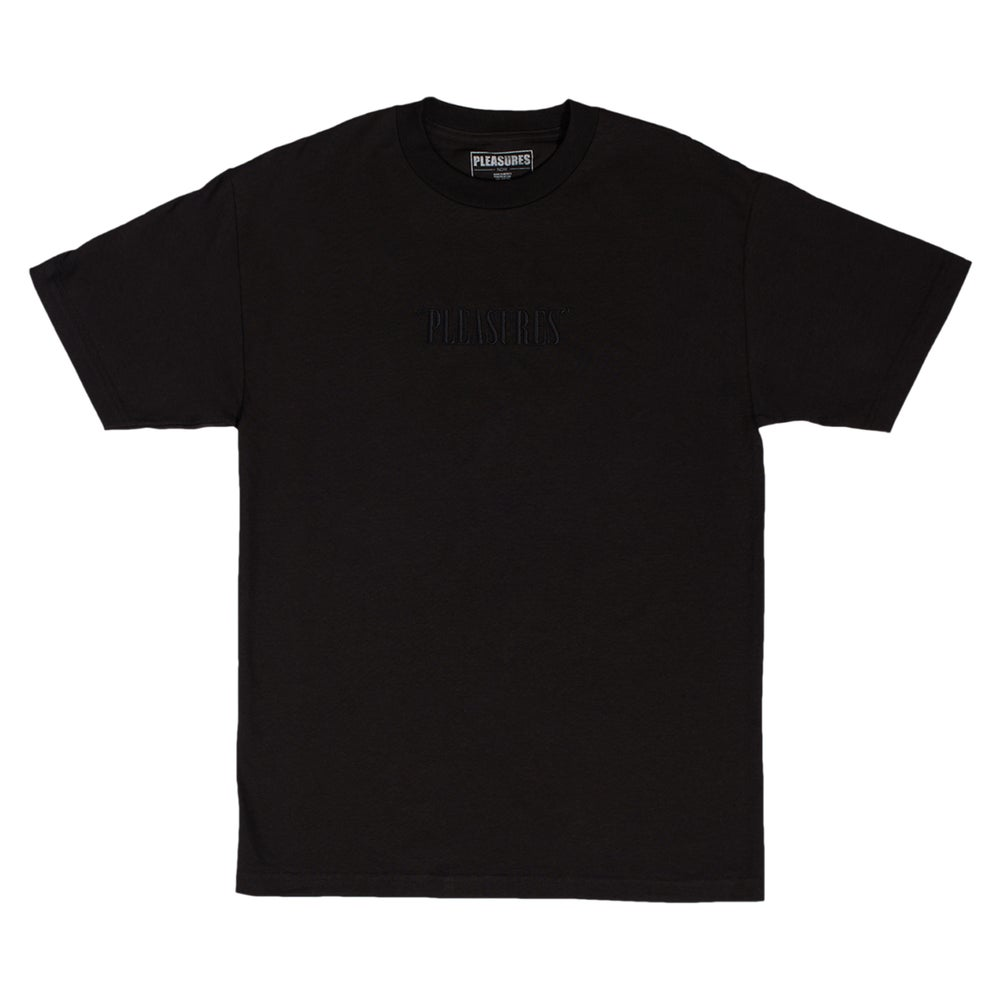 Image of PLEASURES - Core Embroidered Logo Tee (Black)