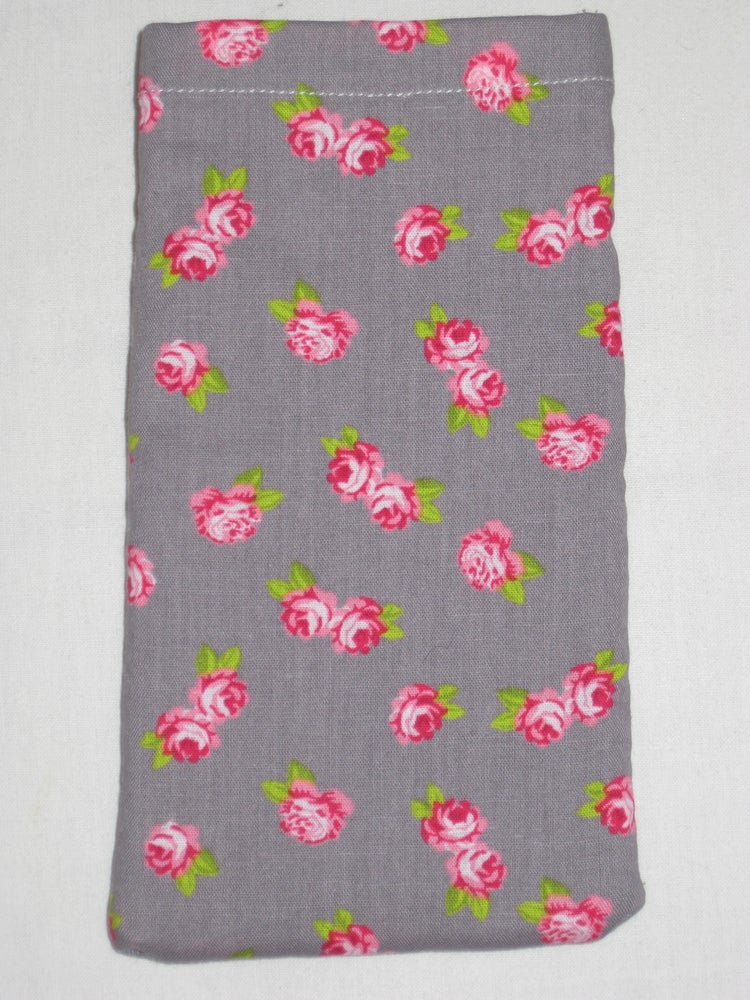 Image of Pink flowers on grey (new phone pouch)