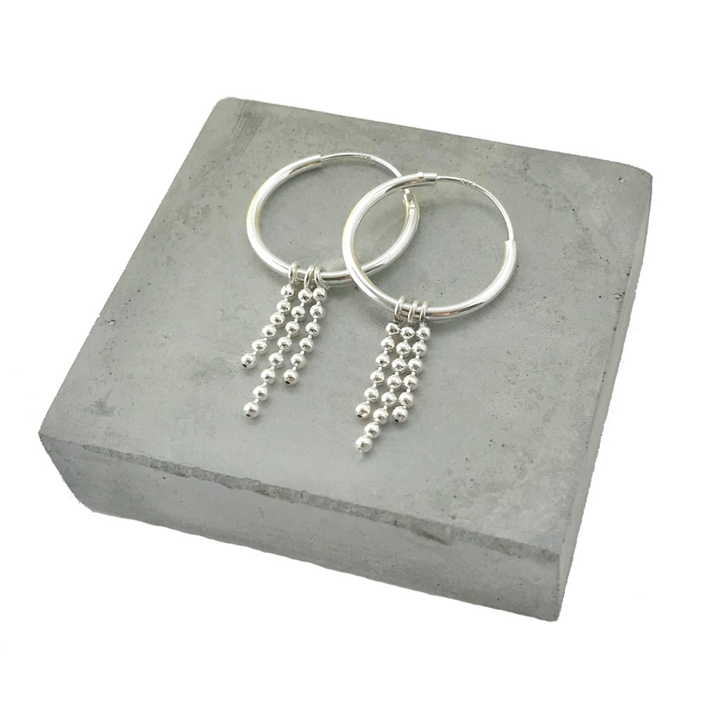 Image of Silver hoops with chain fringe