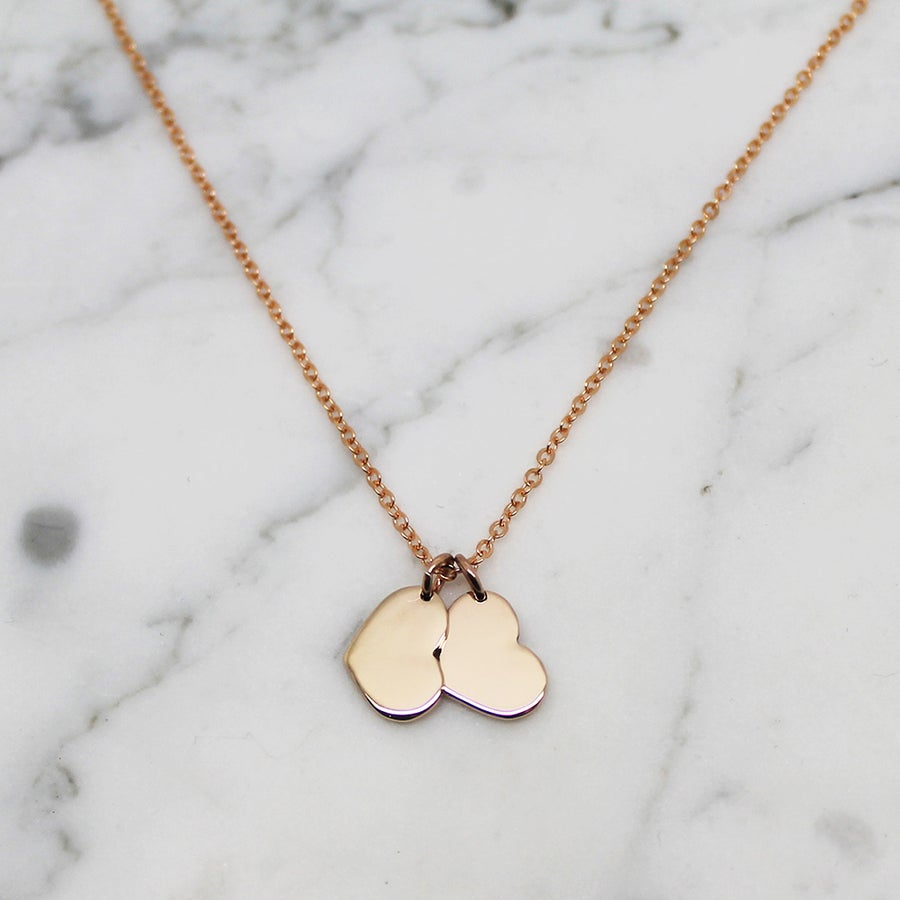 "Image of Double ""Little Heart"" 9ct Yellow Gold Necklace"