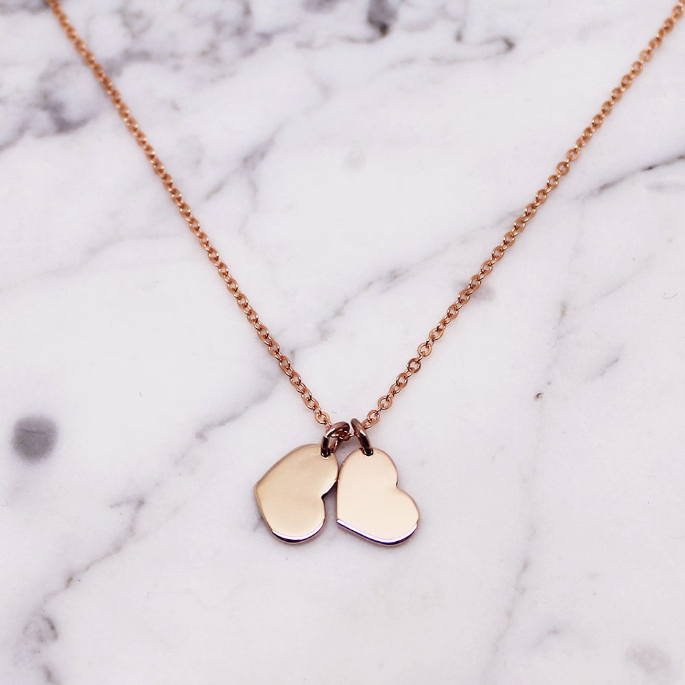 "Image of Double ""Little Heart"" 9ct Rose Gold Necklace"