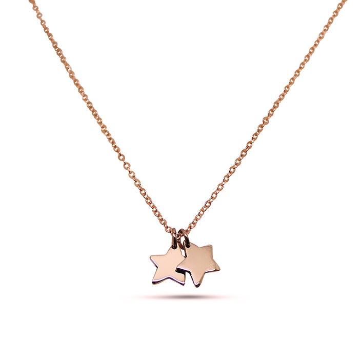 "Image of Double ""Little Star"" 9ct Rose Gold Necklace"