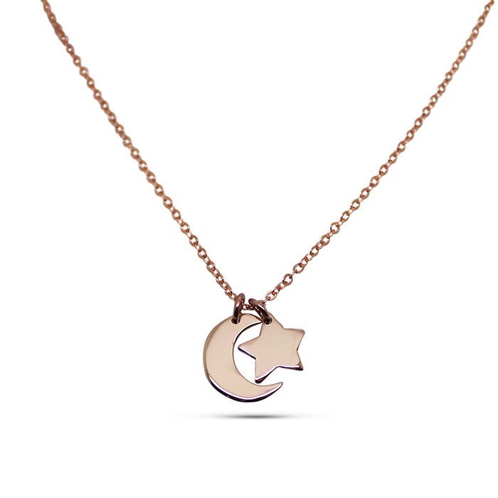 "Image of ""Little Star"" and ""Little Moon"" 9ct Yellow Gold Necklace"