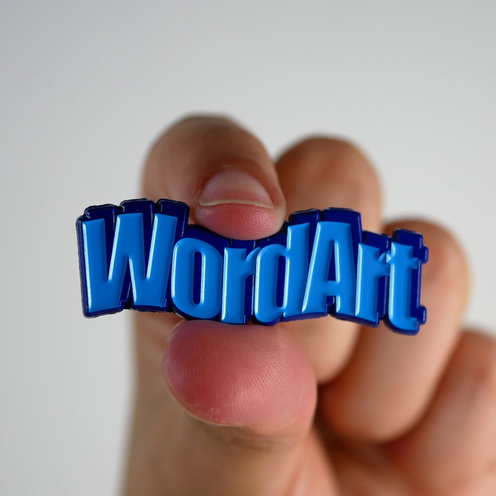 Image of Wavy Blue WordArt Pin