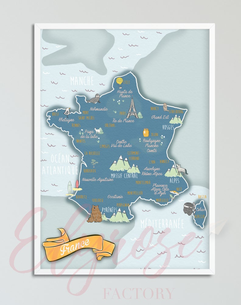Image of Affiche Carte de la France Bleue