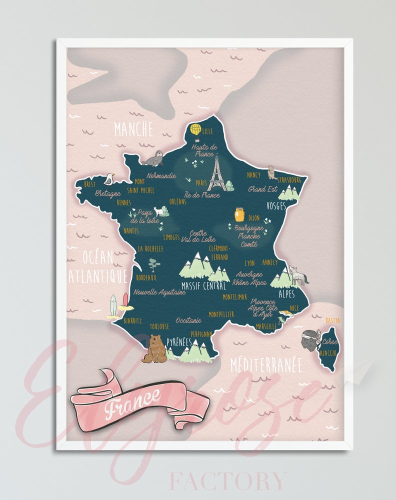 Image of Affiche Carte de la France Rose