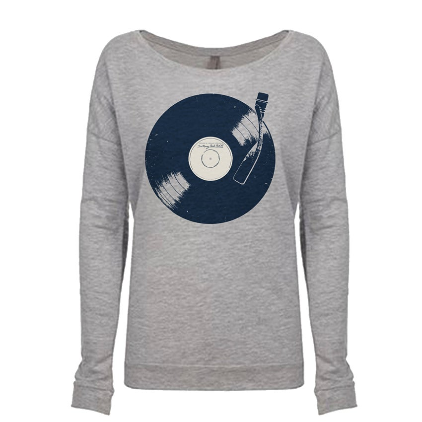 Image of Too Many Bad Habits - Gray Heather Wide Neck Long Sleeve Tee