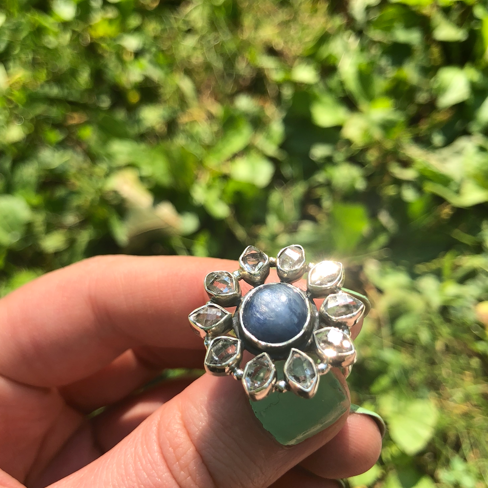 Image of Blue Kyanite + Herkimer Diamond Sterling Silver Ring (Size 9)